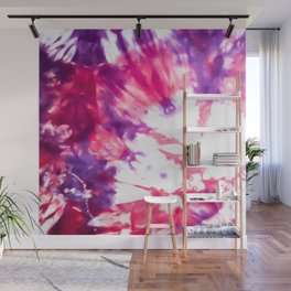 Modern Artsy Abstract Neon Pink Purple Tie Dye Wall Mural