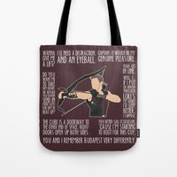archer Tote Bags featuring The Archer by MacGuffin Designs