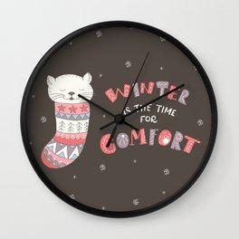 Winter Kitten Wall Clock