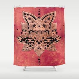 Happiness Mandala Metallic Peach Rose Gold Shower Curtain