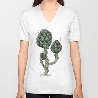 fairies V-neck T-shirts featuring Artichoke Fairies  by Rene Robinson