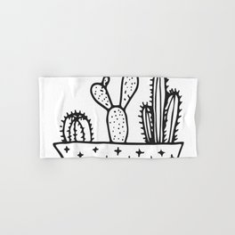Cactus House Garden Black and White Hand & Bath Towel