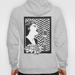 Lady Day (Billie Holiday block print blk) Hoody