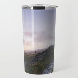 Mountain path and fence at sunset. Derbyshire, UK. Travel Mug