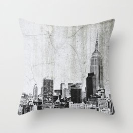 New York City Skyline Gray Texture Throw Pillow