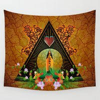 surfboard Wall Tapestries featuring Surfboard with flowers  by nicky2342