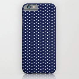 Small White Heart pattern On Navy Blue Background iPhone Case
