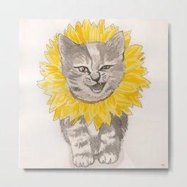 Sunflower Kitty Metal Print
