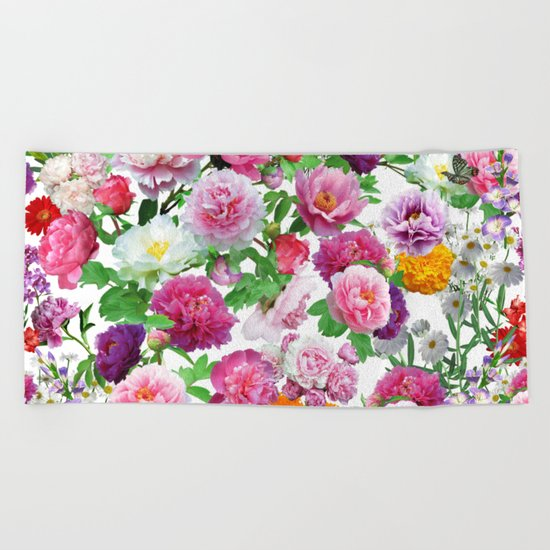 Seamless Nature Flowers Pattern Beach Towel