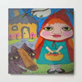 Little Red Riding Hood & Big Bad Wolf whimsical outsider folk art Metal Print