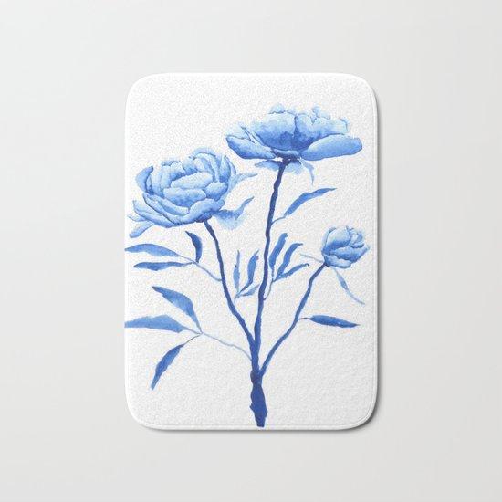 Blue peony 2 Bath Mat