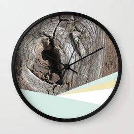 Woodgrain and pastel geometry (1) Wall Clock