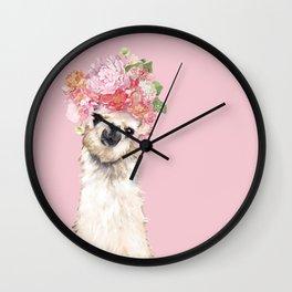 Llama with Flower Crown Wall Clock