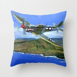 Spitfire Soars Over Hawaii Throw Pillow
