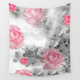 ROSES PINK WITH CHERRY BLOSSOMS Wall Tapestry