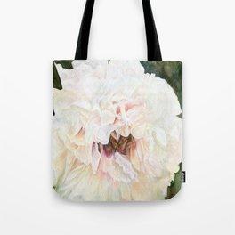 White Peony Watercolor Botanical Art Tote Bag