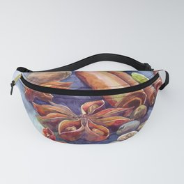 Watercolor Christmas winter spices cinnamon anise walnut pistachios Fanny Pack