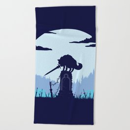 Grey Wolf Sif (Dark Souls) Beach Towel
