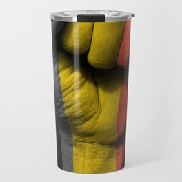 Belgian Flag on a Raised Clenched Fist Travel Mug