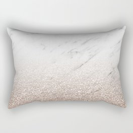 Glitter ombre - white marble & rose gold glitter Rectangular Pillow