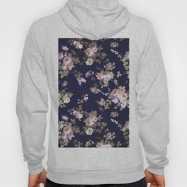 Elegant navy blue lilac pink gold glitter floral Hoody