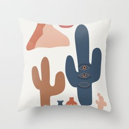 Desert Landscape with Cactus Throw Pillow