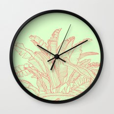 Palm Beach - pink and green Wall Clock