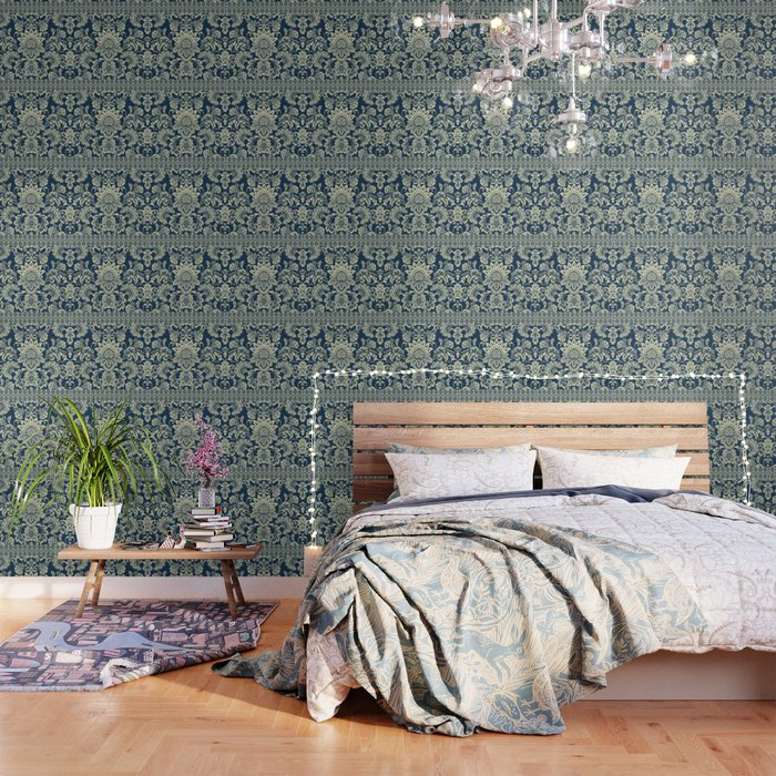 damask in white and blue vintage Wallpaper by chiccabesso