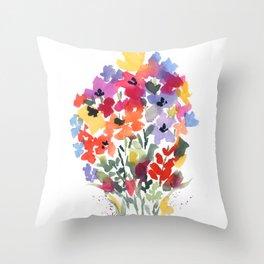 Bright Wildflower Field Throw Pillow