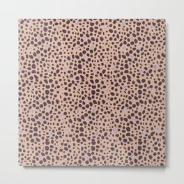 488-Leopard print pattern with watercolor shining dots Metal Print