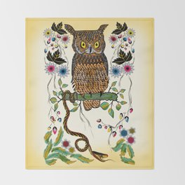 Vibrant Jungle Owl and Snake Throw Blanket