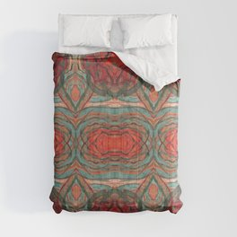 Coral Red Teal Modern Agate Damask Abstract Comforters