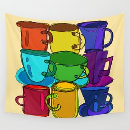 Tea Cups and Coffee Mugs Spectrum Wall Tapestry