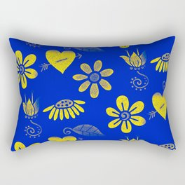 Yellow and Blue Floral Pattern Rectangular Pillow