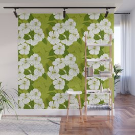 Green Hibiscus Pattern Wall Mural