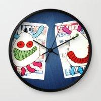 newspaper Wall Clocks featuring Newspaper graffiti by very giorgious