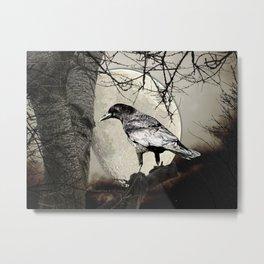 Rustic Black Bird Raven Crow Tree Moon A142 Metal Print