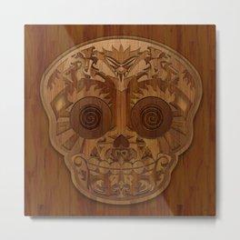 Wooden Sugar Skull Metal Print
