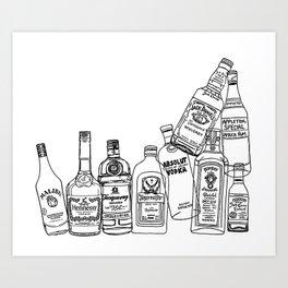Alcohol Bottles (White) Art Print