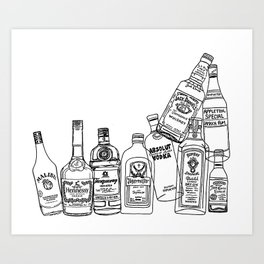Alcohol Bottles (White) Art Print