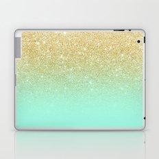 Modern gold ombre mint green block Laptop & iPad Skin