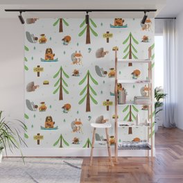 Woodland Campers Pattern Wall Mural