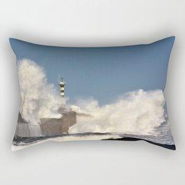 Stormy wave over lighthouse Rectangular Pillow