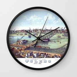 TOLEDO OHIO city old map Father Day art print poster Wall Clock