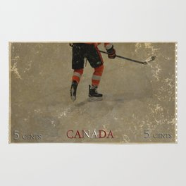 Taking to the Ice - Ice Hockey Postage Stamp Art Rug