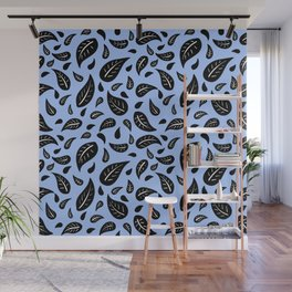 Many Autumn Fallen Leaves Pattern in Blue Wall Mural