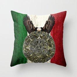 MEXICAN EAGLE AZTEC CALENDAR FLAG Throw Pillow