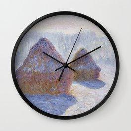 1891-Claude Monet-Haystacks (Effect of Snow and Sun)-65 x 92 Wall Clock