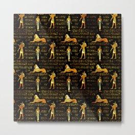 Egyptian Decorative hieroglyphics Pattern Metal Print