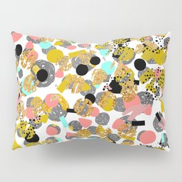 LOLA - abstract art painting modern trendy colors, gold foil, dots pattern decor Pillow Sham